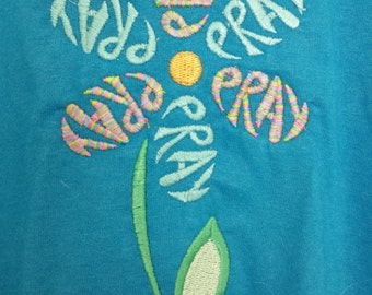 Prayer Flower Embroidered T-shirt  SIZE: XL  REDUCED