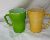2 Vintage Fire King Soda Mugs Yellow & Green - Midcentury Modern Kitchen Cola Coffee Cup Milk Glass Anchor Hocking Oven Proof USA