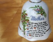 Vintage Bell - Mother with a poem about Mother and flowers / roses, trimmed in gold