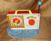 Vintage Fisher Price Hickory Dikory Dock Clock Radio toy 107 - wind it up and it plays while the clock hands turn - 1971 retro groovy FP