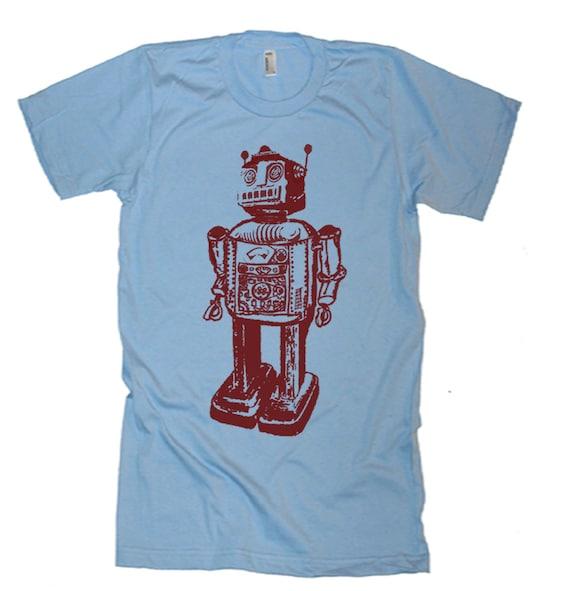 Mens Robot T Shirt - Vintage Robot Graphic Tshirts - American Apparel Tshirt - S M L XL 2XL