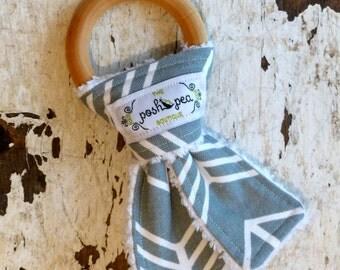 Organic Natural Wood Ring Teether - Grey Arrows - Bunny Ear Teether - Montessori Inspired
