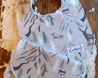 Bib & Burp Cloth Gift Set  - Glen Royal Stag - Baby Boy - Grey Mountains and Stag Deer