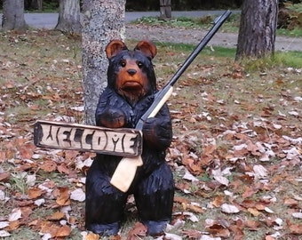 Chainsaw Carved Welcome Bear With Shotgun