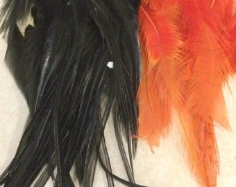 WHOLESALE  : 10 Orange and 10 Black Rooster Feather Hair Extension