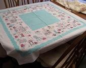"Retro Turquoise Tablecloth 44"" Square Vintage Kitchen Items"