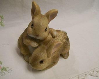 Vintage Bunny Rabbit Figurine Homco 1980s Porcelain