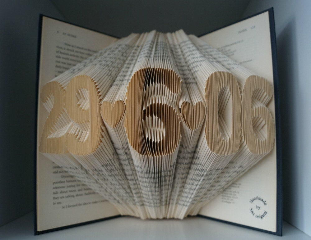 Paper anniversary gift for him numbers folded book art made