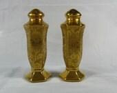 Vintage Pair of Elegant Stouffer Poppy Floral Overlay Gold Salt & Pepper Shakers trustyboomer