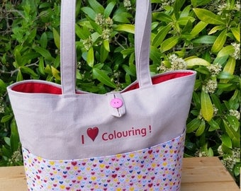 REDUCED! Shoulder Bag and Pencil Case for Adult Colourists, Red Lining and Front Pocket, I Love Colouring