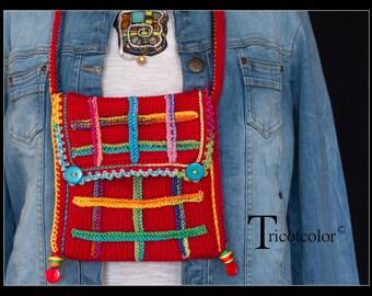 Sac femme écossais en laine tricoté main