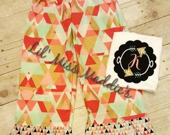 Coral and Mint Abstract ruffled pants set