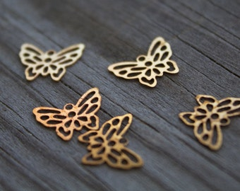 20 Brass Butterfly Charms 12mm