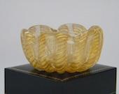 Mid-Century BAROVIER & TOSO Murano Glass Ring Dish BOWL Venice 1950