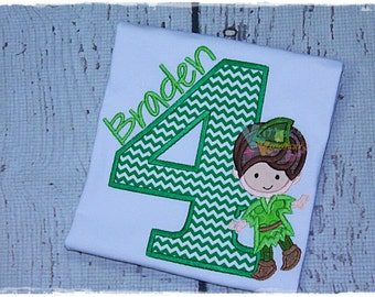 Custom Peter Pan Inspired - Boy Fairy - Birthday Embroidered Applique Shirt