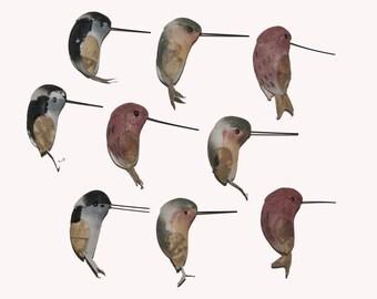 9 pc 1 Inch Petite Hummingbird (Vera) CLOSEOUT PRICE!, Mini Birds, Birds for Decorations and Crafting