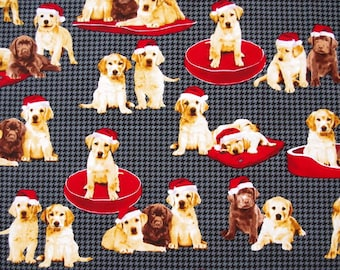 C188 - 1 meter  Cotton Fabric - Lovely dogs(145cm width)