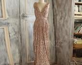 2016 Rose Gold Bridesmaid dress, Long Gold Sequin Wedding dress, Metallic Sparkle Evening dress, V neck back Luxury full length (TQ150C)