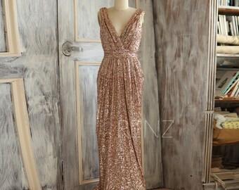 2016 Rose Gold Bridesmaid dress Sequin, Long Gold Wedding dress, Metallic Sparkle Evening dress, V neck back Luxury full length (TQ150C)