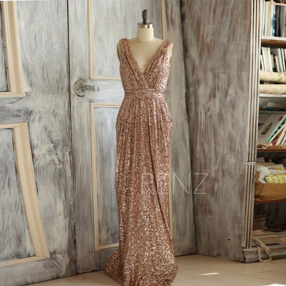 Gold Bridesmaid Dresses: 2016 Rose Gold Bridesmaid Dress Sequin Long Gold By RenzRags