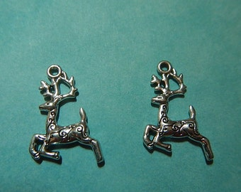 4 Pieces Tibetan Style Deer Reindeer Christmas Charm Two Sided Silver Plate Holidays