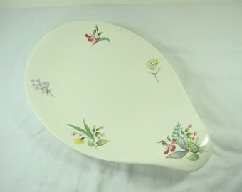 Vintage EVA ZEISEL BOUQUET Platter Wildflower Lug Handle Floral Mid Century Hallcraft