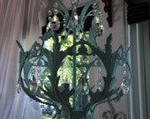 LAST CALL CLOSING Fabulous antique brass chandelier with sparkling AsFour real crystals painted in a aqua