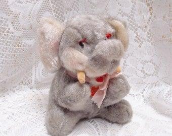 "Vintage 6 1/2"" Sonsco Plush Stuffed Mohair Elephant Squeaks"
