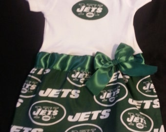New York Jets inspired baby girl outfit