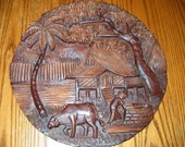 VINTAGE Wood Carved Village scene from the Phillipines World War 2? Wonderful details.
