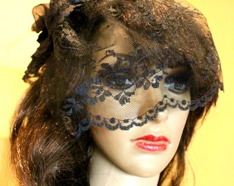 Custom Fancy Lace Fascinator, Silk flowers with lace veil