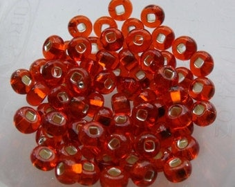6/0 Translucent Silver Lined Orange Seed Beads, 4mm, Czech, Preciosa, 20 grams (270 - 300 Beads) CLEARANCE SALE!!