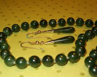 "SALE! Dark Green Jade Necklace & Earrings Set, 16""L Necklace, Metal Needs Upgrading"