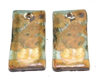 Unusual Van Gogh Sunflowers Ceramic Earring Charms Pair Rustic Stoneware Pottery
