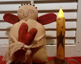 MADE TO ORDER  Primitive Valentines Angel Doll / Shelf Sitter/ Ornie