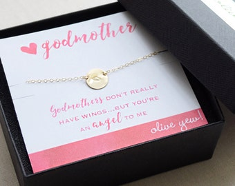 Godmother Necklace, Angel Wing, Small  Disk Necklace, Gold, Rose Gold, Silver Brushed Disk - 1363