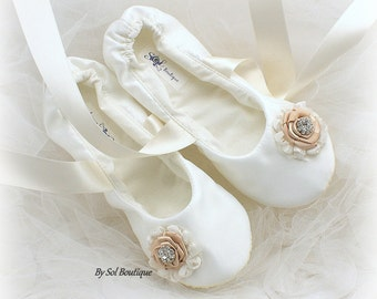 Girl Flats, Ivory, Champagne, Ballet Flats, Bat Mitzvah,Confirmation, Flower Girl, First Communion, Prom, Flats, Ballerina Slippers, Lace Up