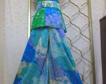 Vintage Lilli Diamond Halter Palazzo Pantsuit Abstract Pop Art Nylon Jersey S