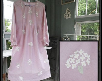 1Free shipping in US-Small-XL-Dusty Rose/Wicker Hydrangea,Long Sleeve Cotton Nightgow,Vintage Fabric,PinTucked,Waltz Length,Vintage Inspired