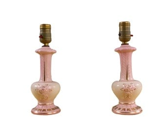 Pair of Pink Ceramic Lamps