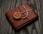 Leather Journal or Leather Sketchbook, Pocket Sized, Cherry Button Closure, Redwood Brown Leather Handbound Notebook