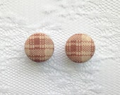 """Plaid Tan and Off White Cream Fall Fabric Button Covered Plugs Gauges Size: 00g (10mm), 1/2"""" (12mm), 9/16"""" (14mm), 5/8"""" (16mm)"""