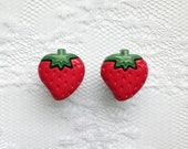 """Red Strawberry Pair Plugs Gauges Size: 00g (10mm), 1/2"""" (12mm)"""