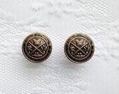 "Brass Crest Vintage Style Design Plugs Gauges Size: 0g (8mm), 00g (10mm), 1/2"" (12mm)"