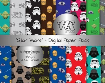 Original Star Wars Inspired Digital Paper Background Ideal for Scrapbooking - Storm trooper, R2D2, C3P0, Yoda, Darth Vader, Lightsaber, DIY