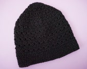 Black Crochet Beanie Black Sparkle Beanie Womens Crocheted Hat (HAT103 Onyx)