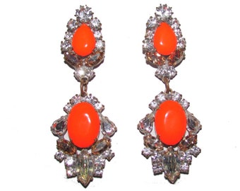 Orange Neon Hand Painted Vintage Rhinestone Earrings -Neon Goddess