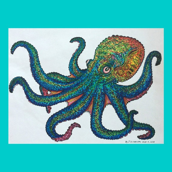 Original octopus drawing colorful art artwork created with for Colorful octopus painting