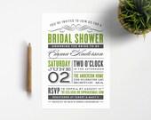 Old Fashioned Bridal Shower Invitation - Vintage, Rustic, Typography, Wedding, Invites, Green, Gray, Modern