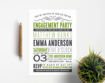 Old Fashioned Engagement Party Invitation